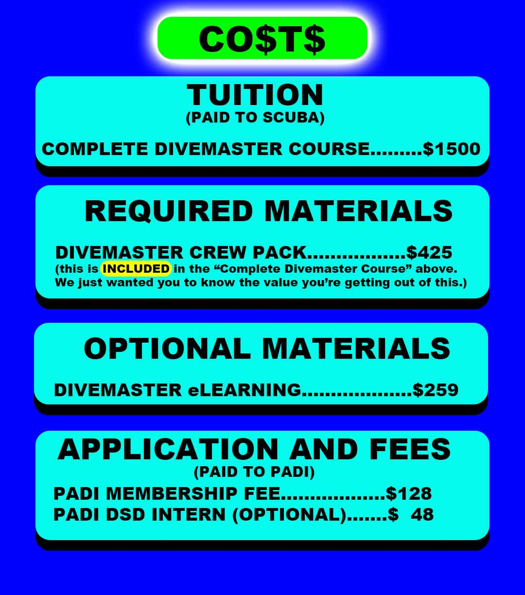 Price for Divemaster Course with SCUBA