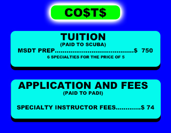 PADI Master SCUBA Diver Trainer course costs St Croix SCUBA