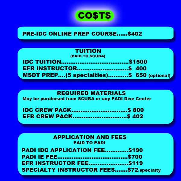 St Croix SCUBA PADI Instructor Development Course Costs